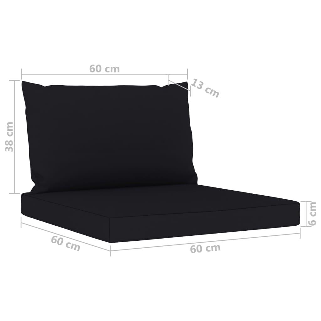 6-delige Loungeset met zwarte kussens