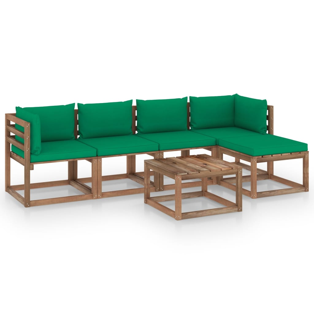 vidaXL 8-delige Loungeset met groene kussens
