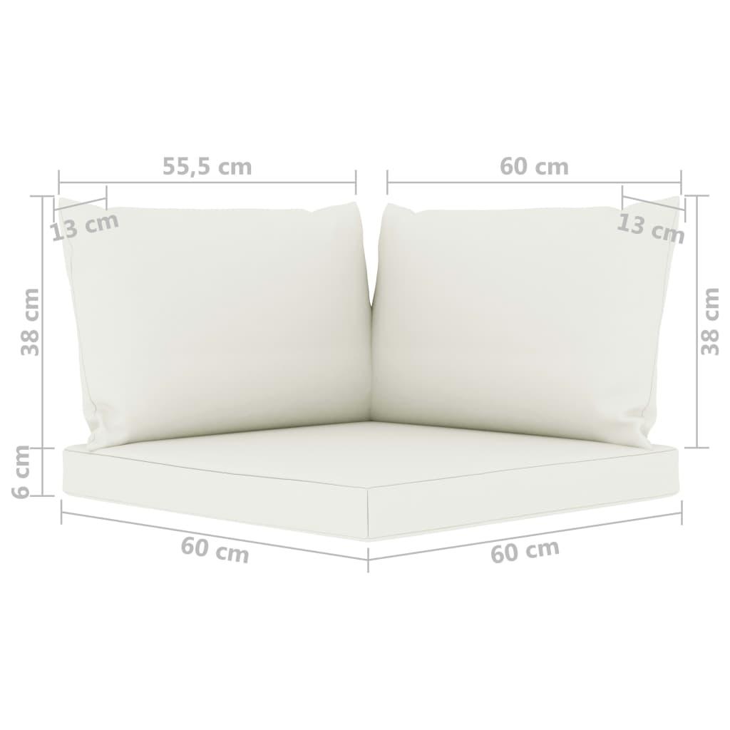 vidaXL 6-delige Loungeset met crèmekleurige kussens grenenhout