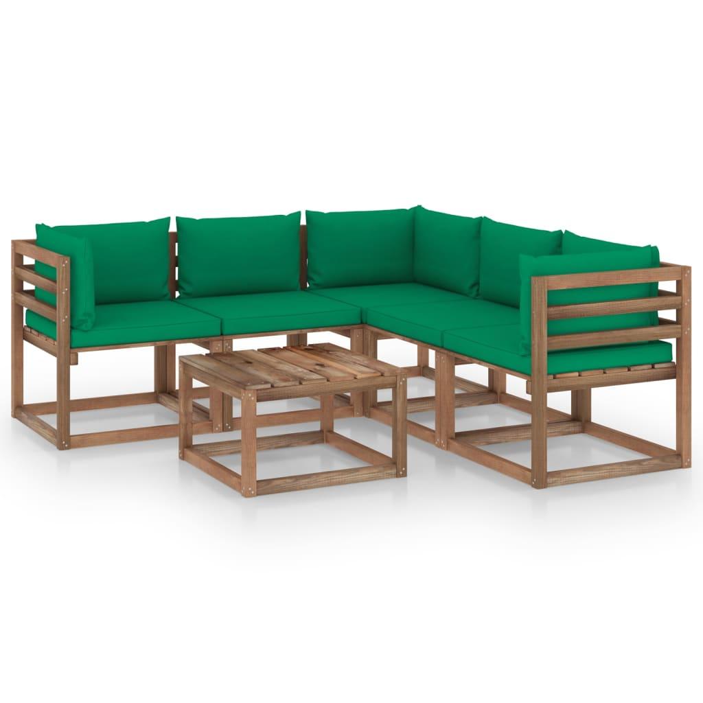 vidaXL 6-delige Loungeset met groene kussens geïmpregneerd grenenhout
