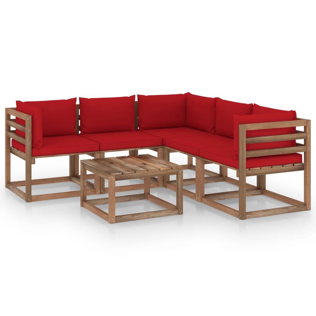 vidaXL 6-delige Loungeset met rode kussens geïmpregneerd grenenhout