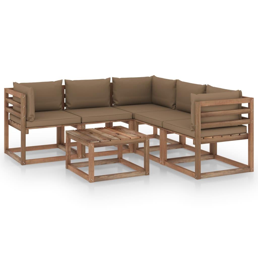 vidaXL 6-delige Loungeset met taupe kussens geïmpregneerd grenenhout