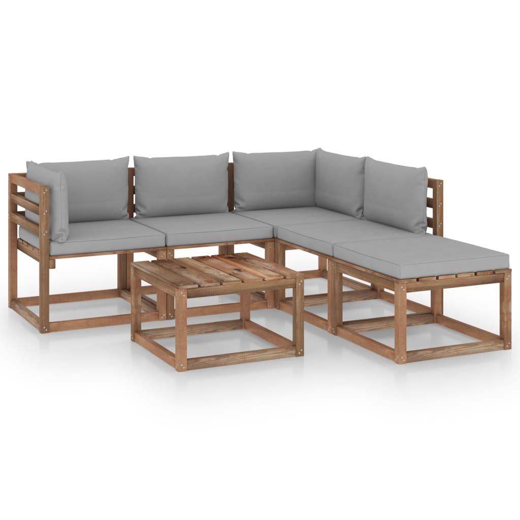 6-delige Loungeset pallet met kussens geïmpregneerd grenenhout
