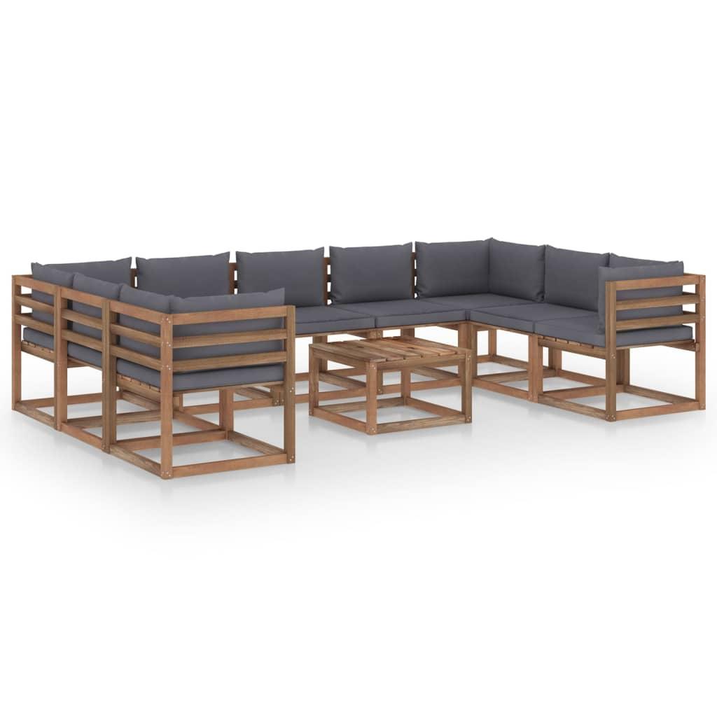 10-tlg. Garten-Lounge-Set mit Anthrazit Kissen
