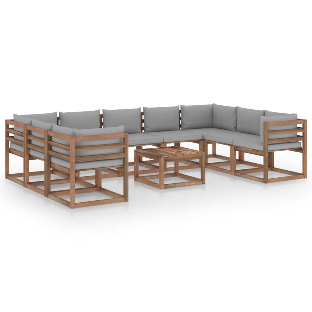 10-tlg. Garten-Lounge-Set mit Grauen Kissen