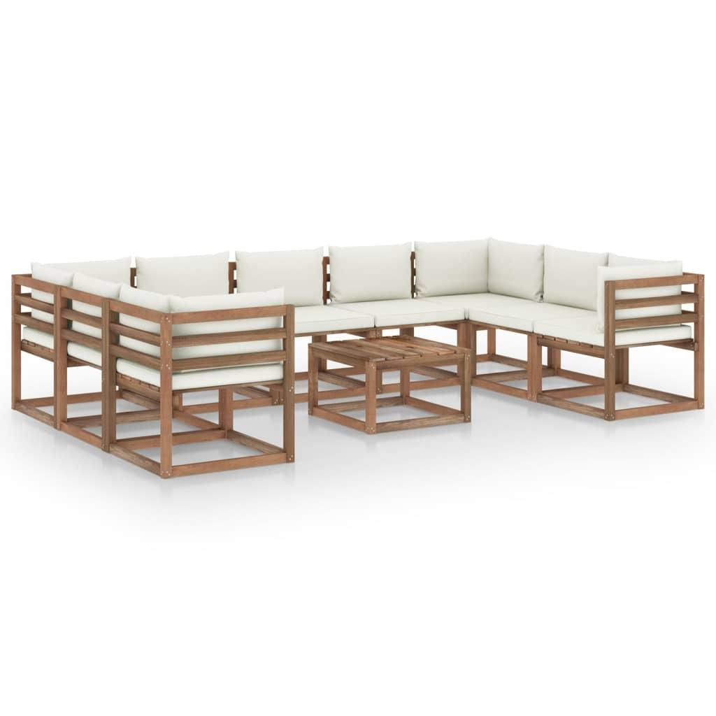 10-tlg. Garten-Lounge-Set mit Creme Kissen