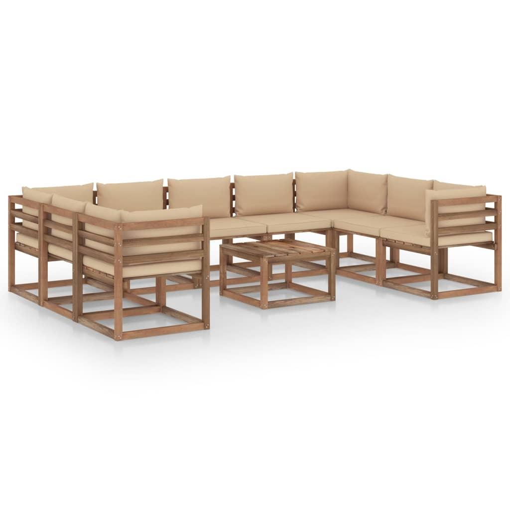 10-tlg. Garten-Lounge-Set mit Beigen Kissen