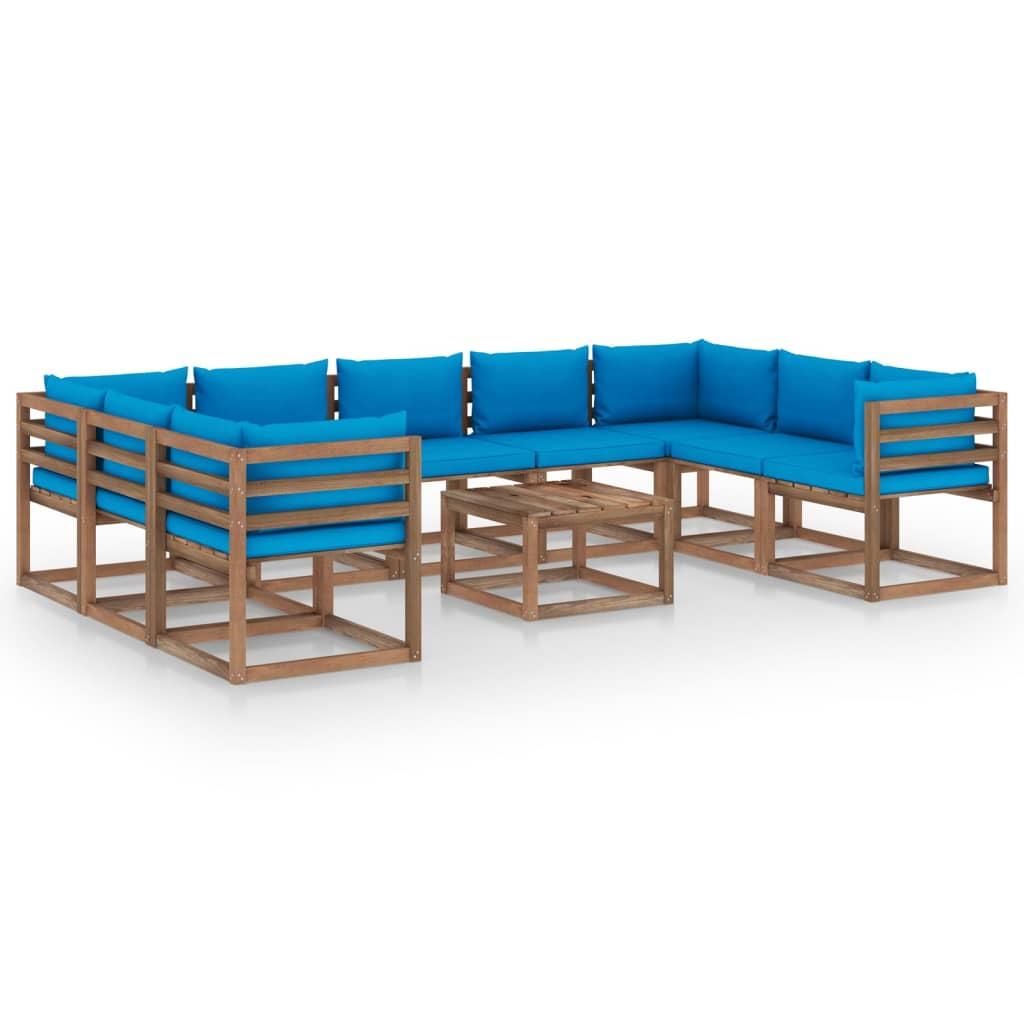 10-tlg. Garten-Lounge-Set mit Hellblauen Kissen