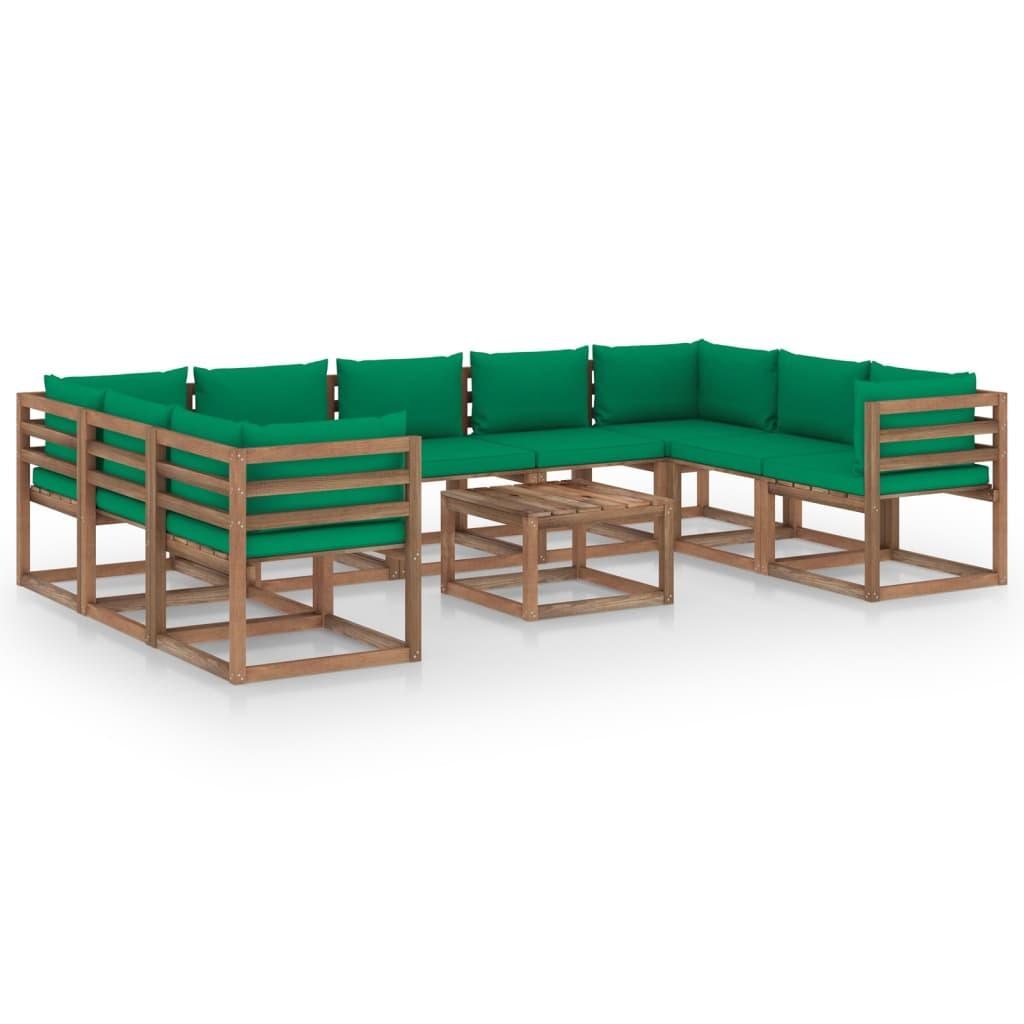 10-tlg. Garten-Lounge-Set mit Grünen Kissen