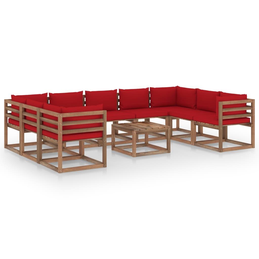 10-tlg. Garten-Lounge-Set mit Roten Kissen