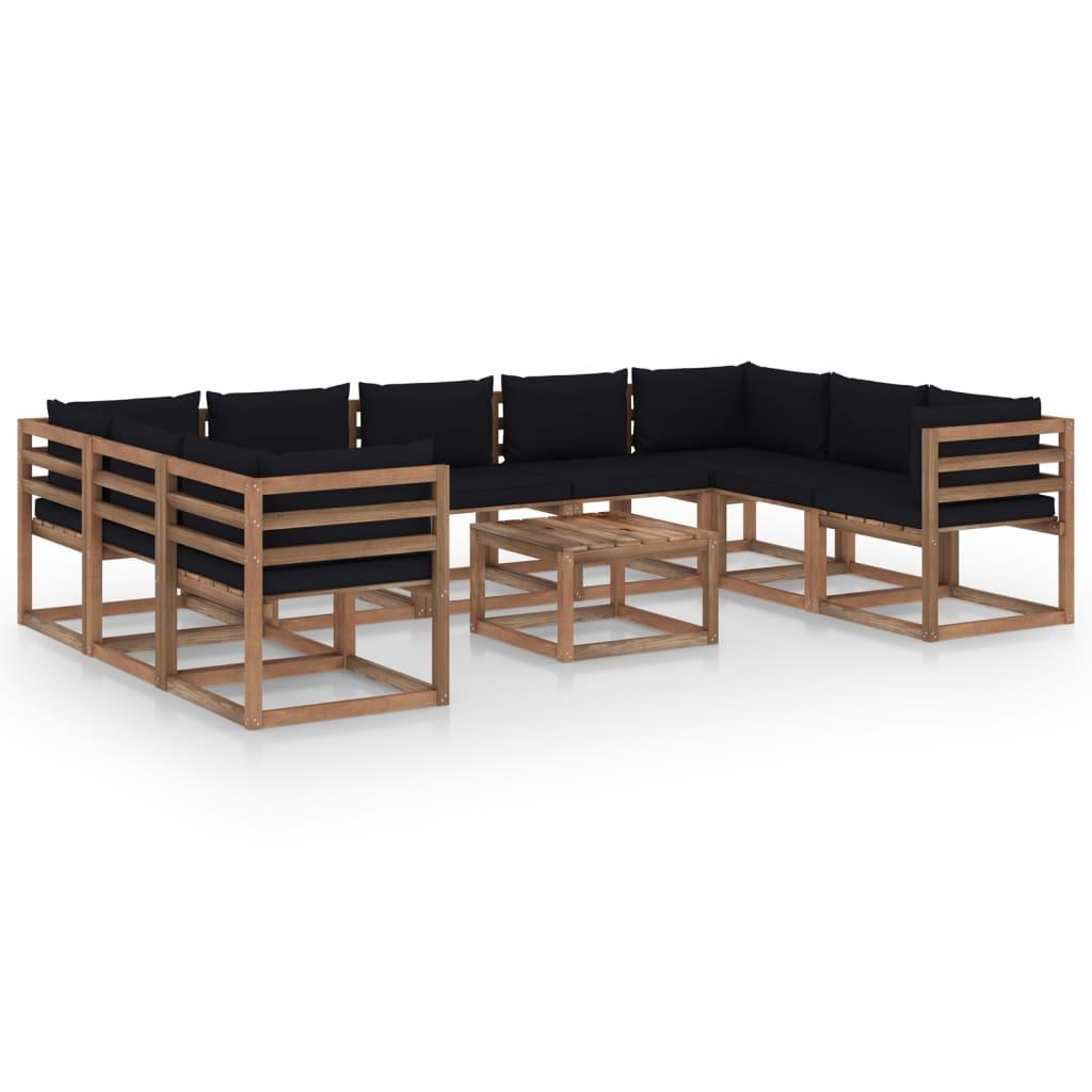 10-tlg. Garten-Lounge-Set mit Schwarzen Kissen