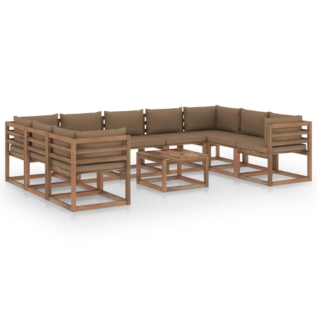 10-tlg. Garten-Lounge-Set mit Taupe Kissen