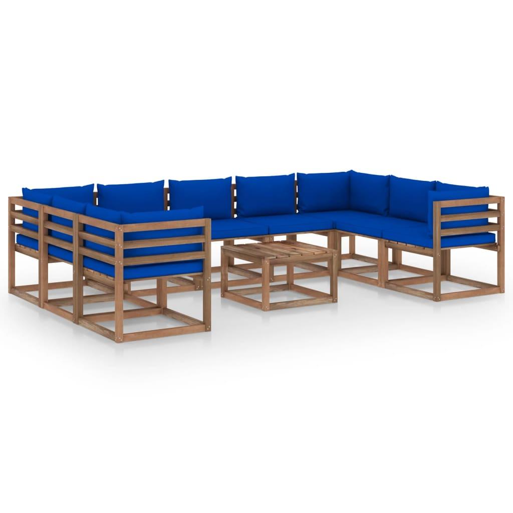 10-tlg. Garten-Lounge-Set mit Blauen Kissen