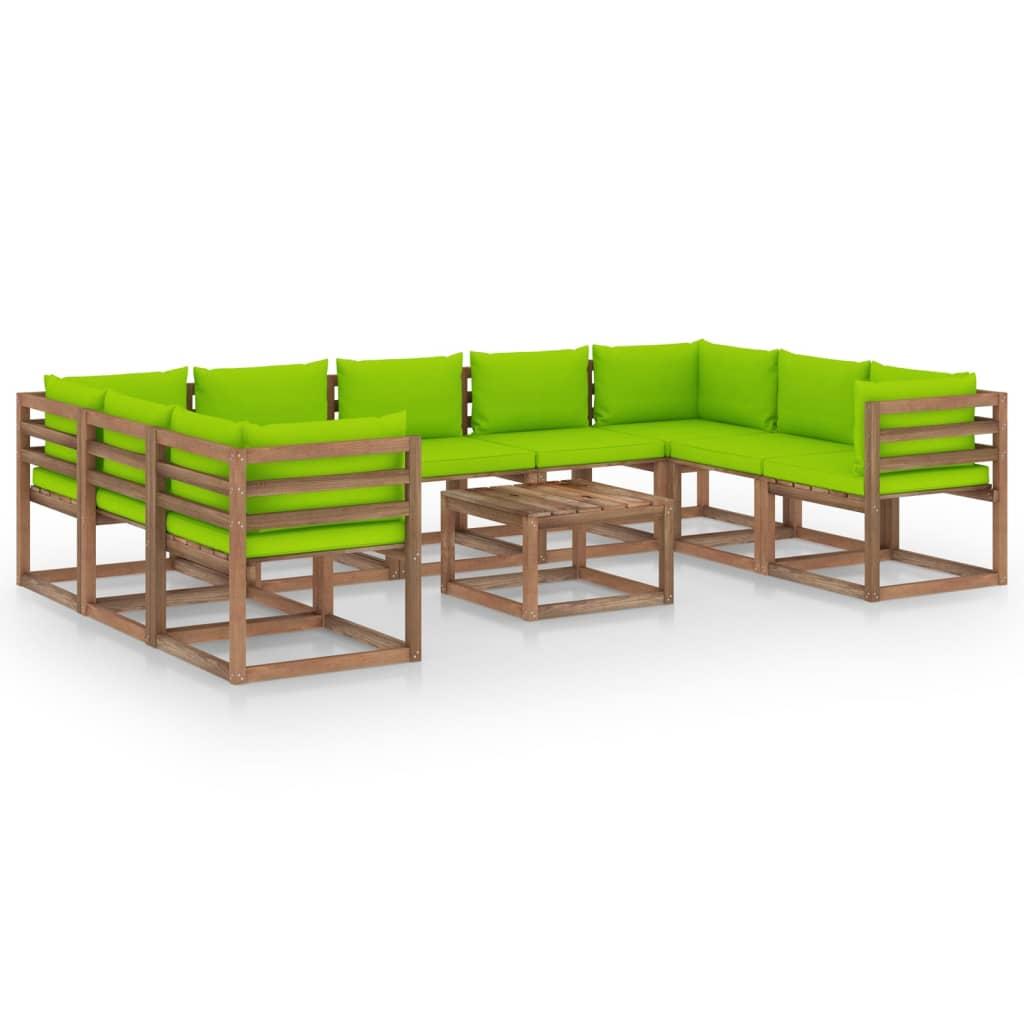 10-tlg. Garten-Lounge-Set mit Hellgrünen Kissen