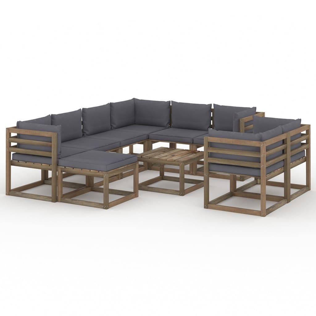 10-tlg. Garten-Lounge-Set mit Kissen Anthrazit