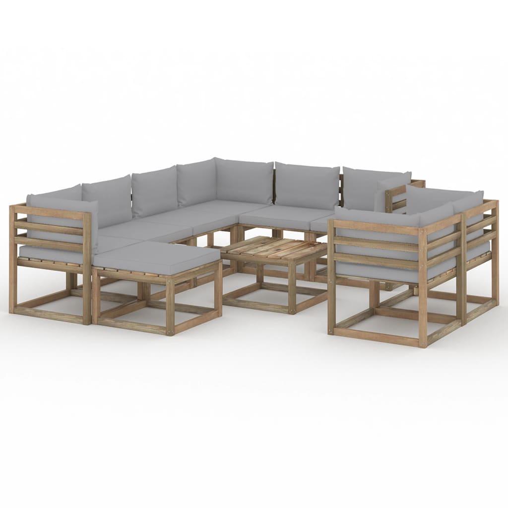 10-tlg. Garten-Lounge-Set mit Kissen Grau