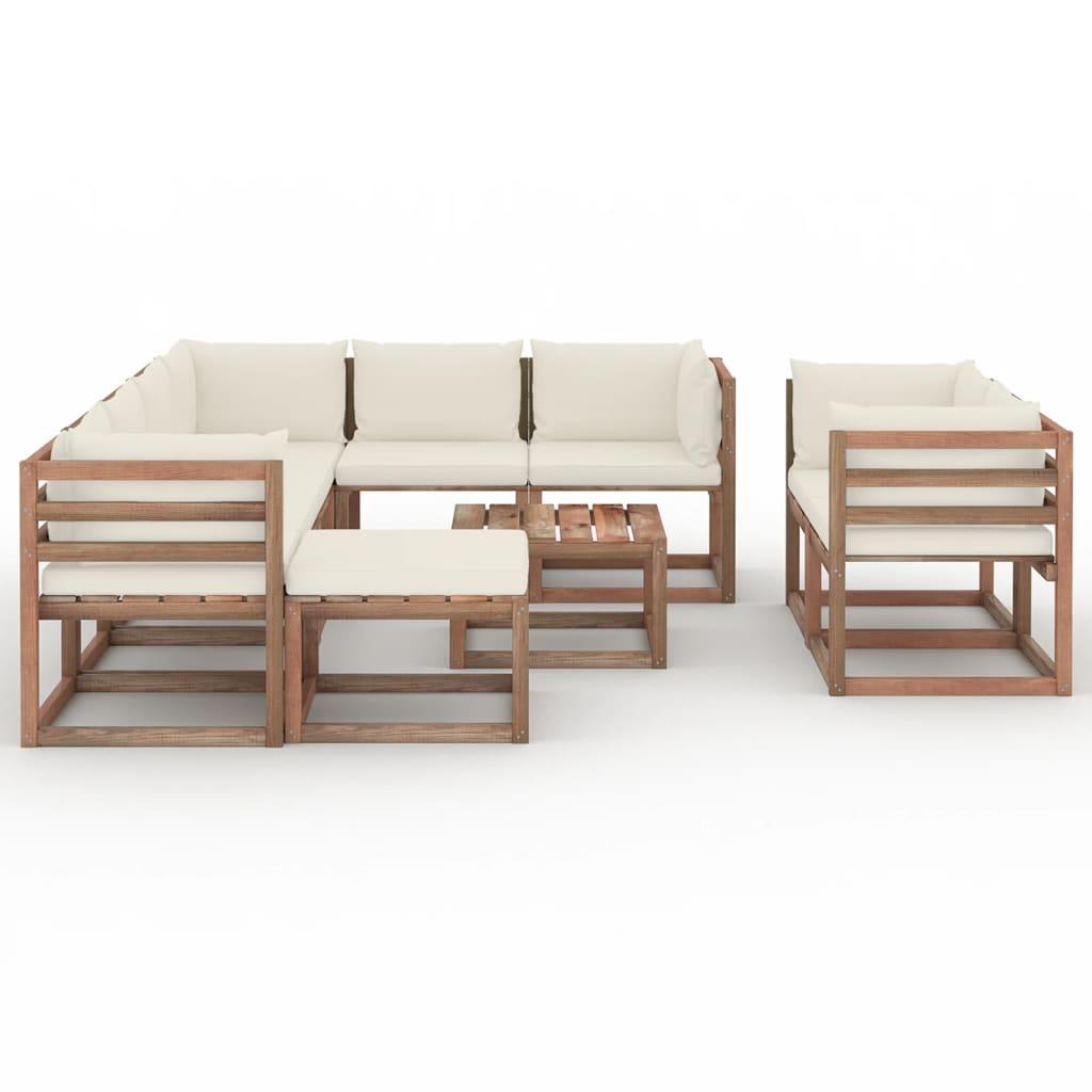 10-tlg. Garten-Lounge-Set mit Kissen Creme