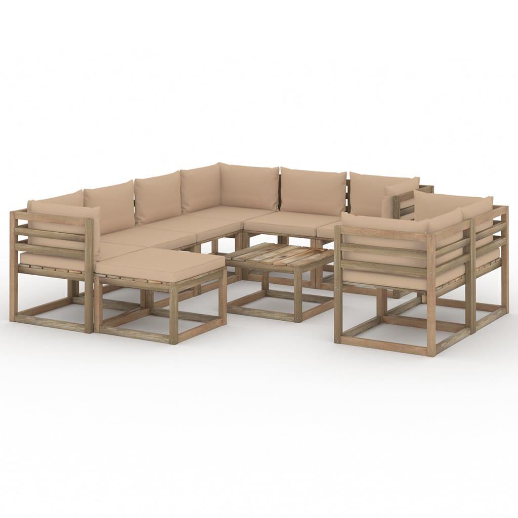 10-tlg. Garten-Lounge-Set mit Kissen Beige