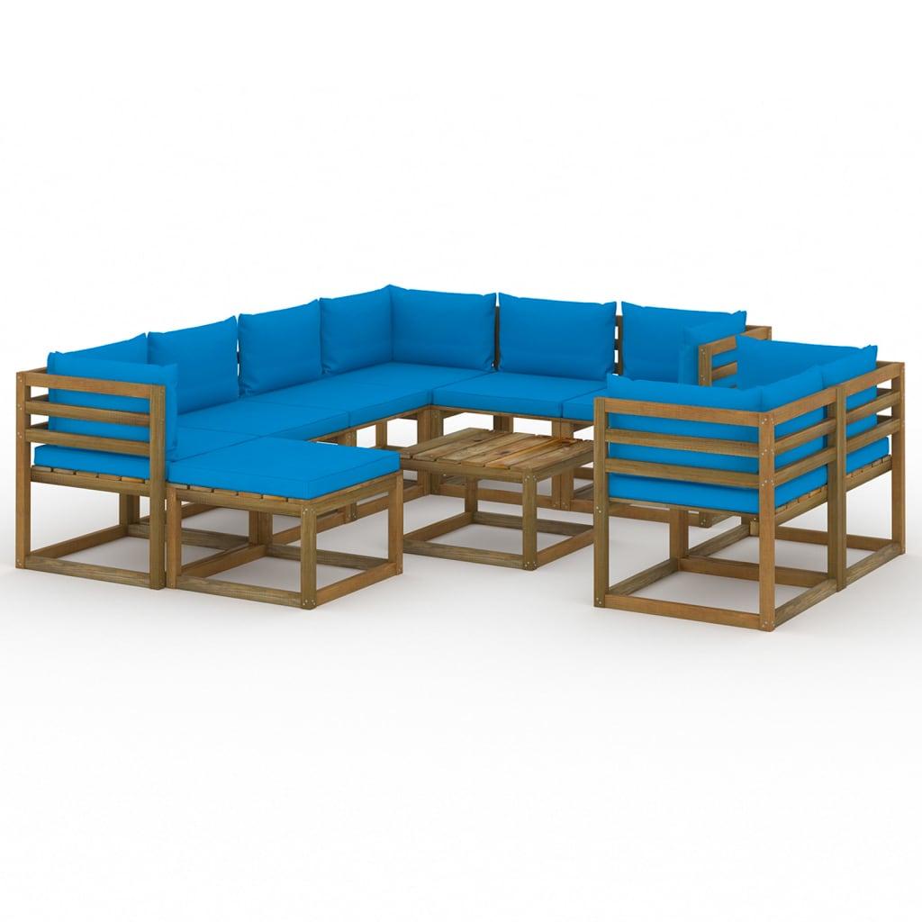 10-tlg. Garten-Lounge-Set mit Kissen Hellblau