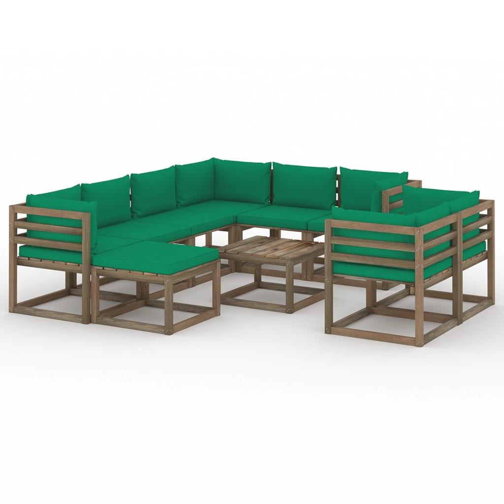10-tlg. Garten-Lounge-Set mit Kissen Grün