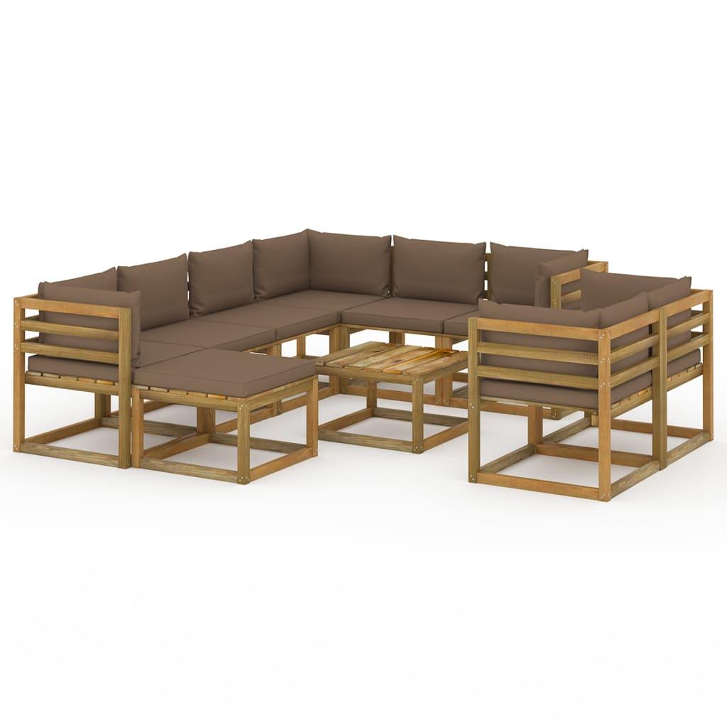 10-tlg. Garten-Lounge-Set mit Kissen Taupe