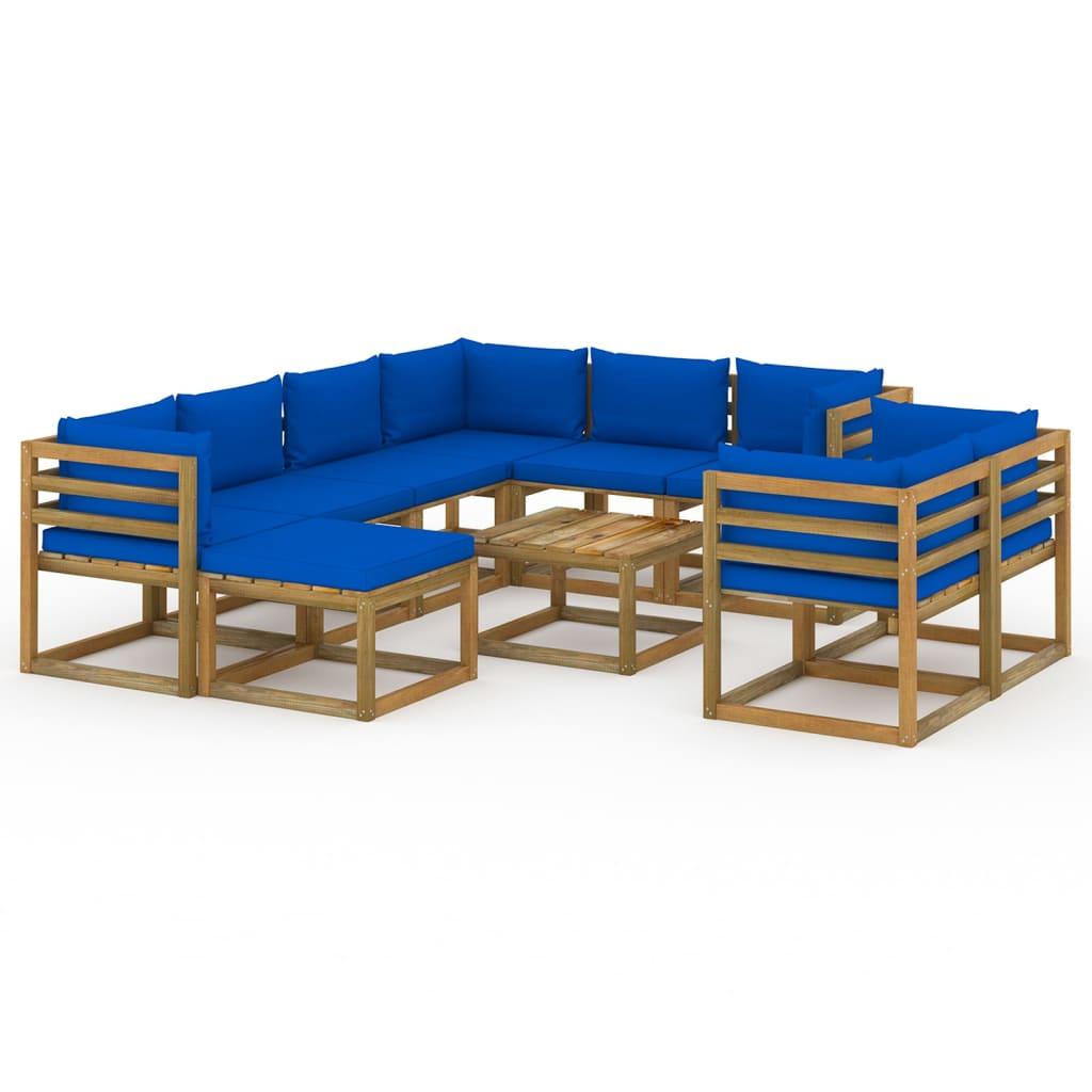 10-tlg. Garten-Lounge-Set mit Kissen Blau
