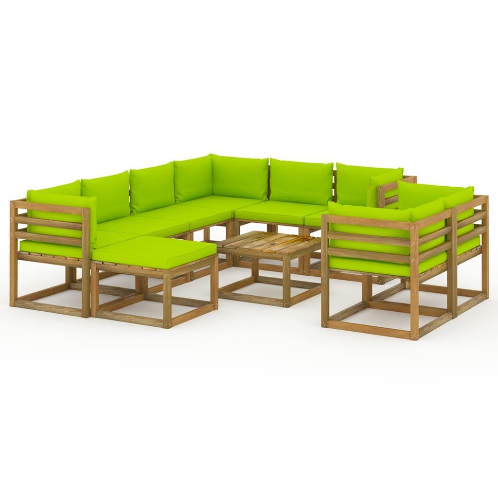 10-tlg. Garten-Lounge-Set mit Kissen Hellgrün