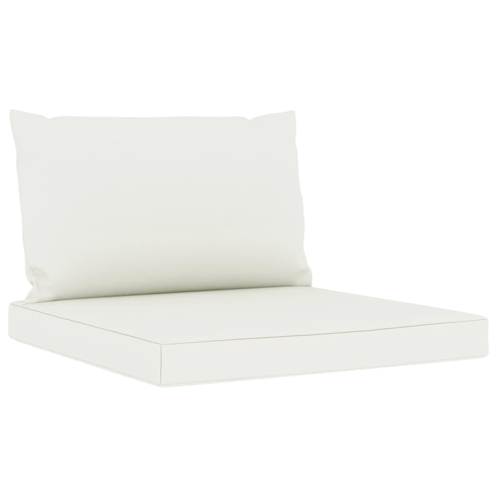 vidaXL 11-delige Loungeset met crèmekleurige kussens