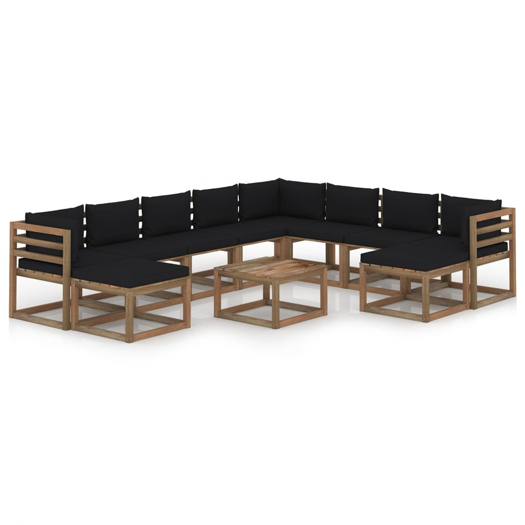 11-delige Loungeset met zwarte kussens