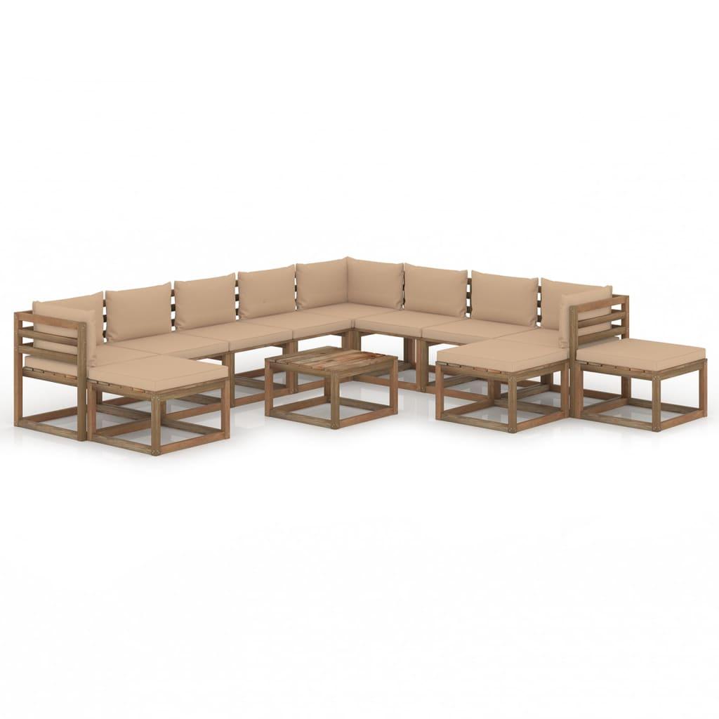 vidaXL 12-tlg. Garten-Lounge-Set mit Kissen Beige