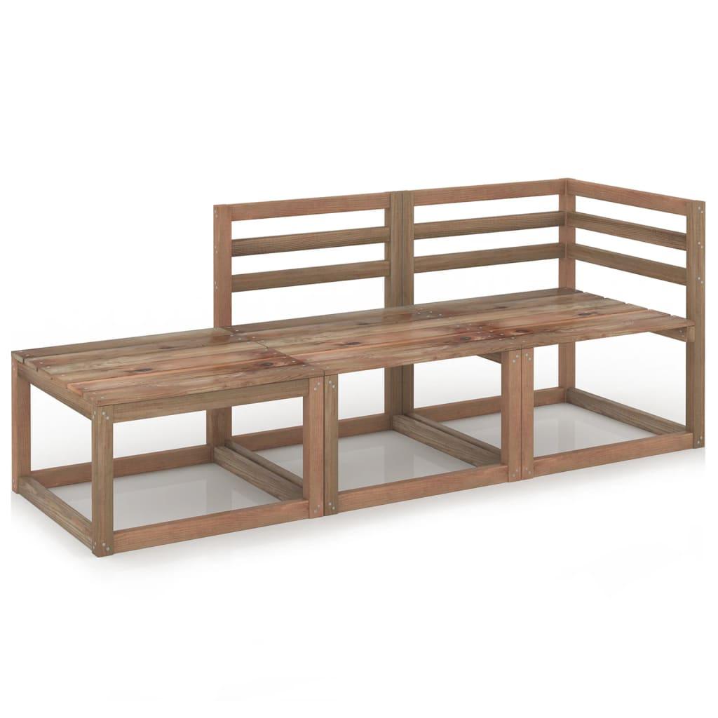 3dílná zahradní sedací souprava hnědá impregnovaná borovice