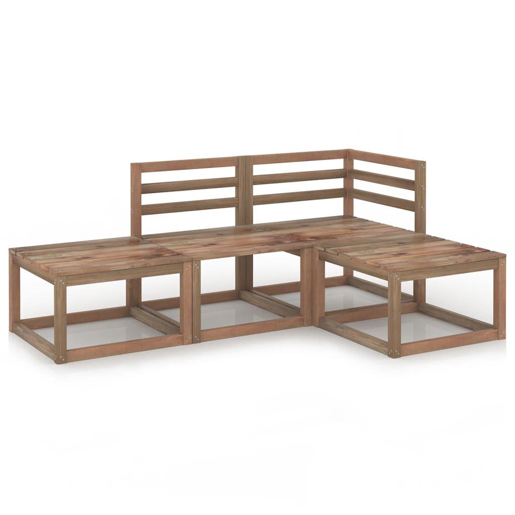 4dílná zahradní sedací souprava hnědá impregnovaná borovice