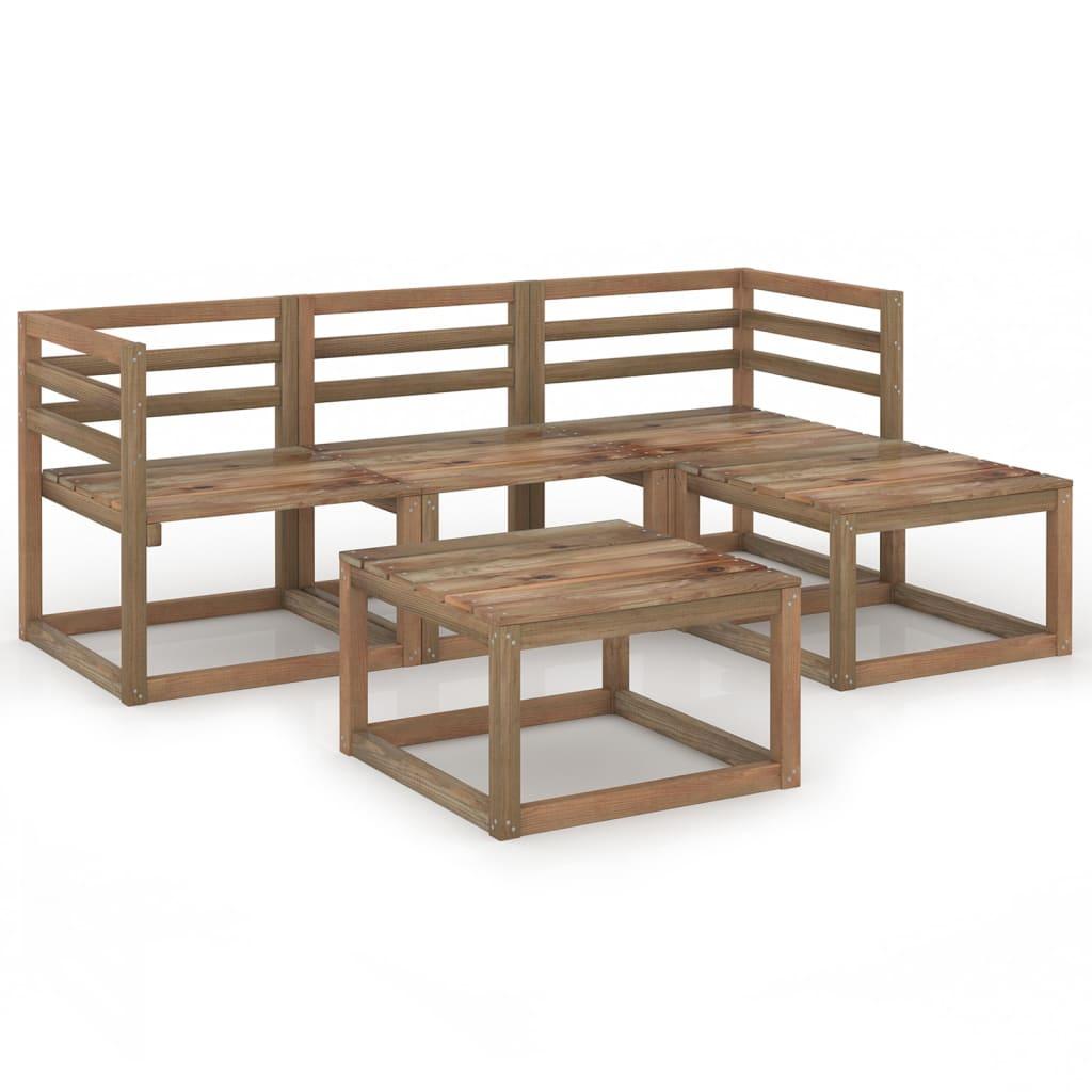 5dílná zahradní sedací souprava hnědá impregnovaná borovice