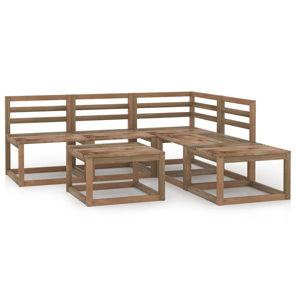 6dílná zahradní sedací souprava hnědá impregnovaná borovice