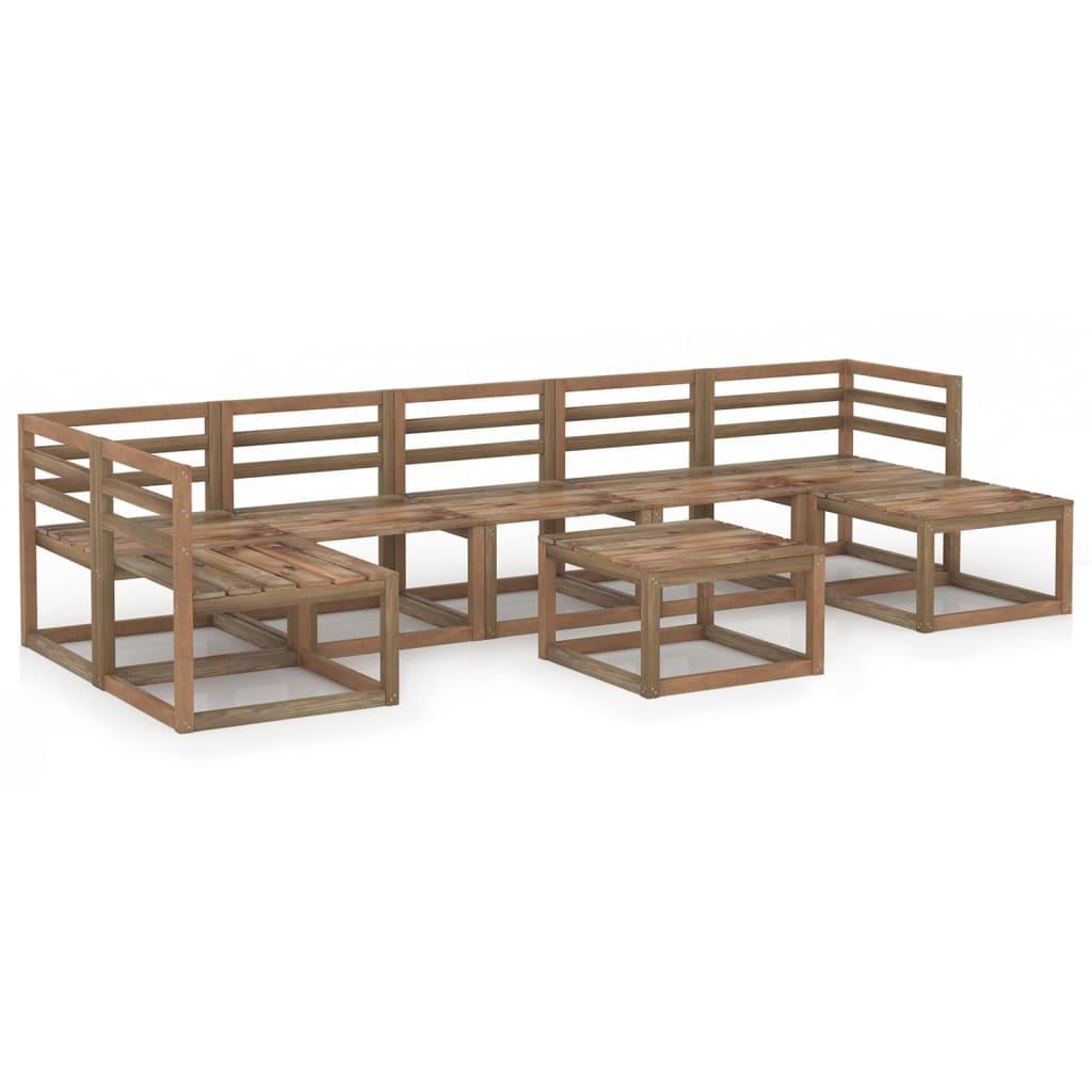 8-delige Loungeset bruin geïmpregneerd grenenhout