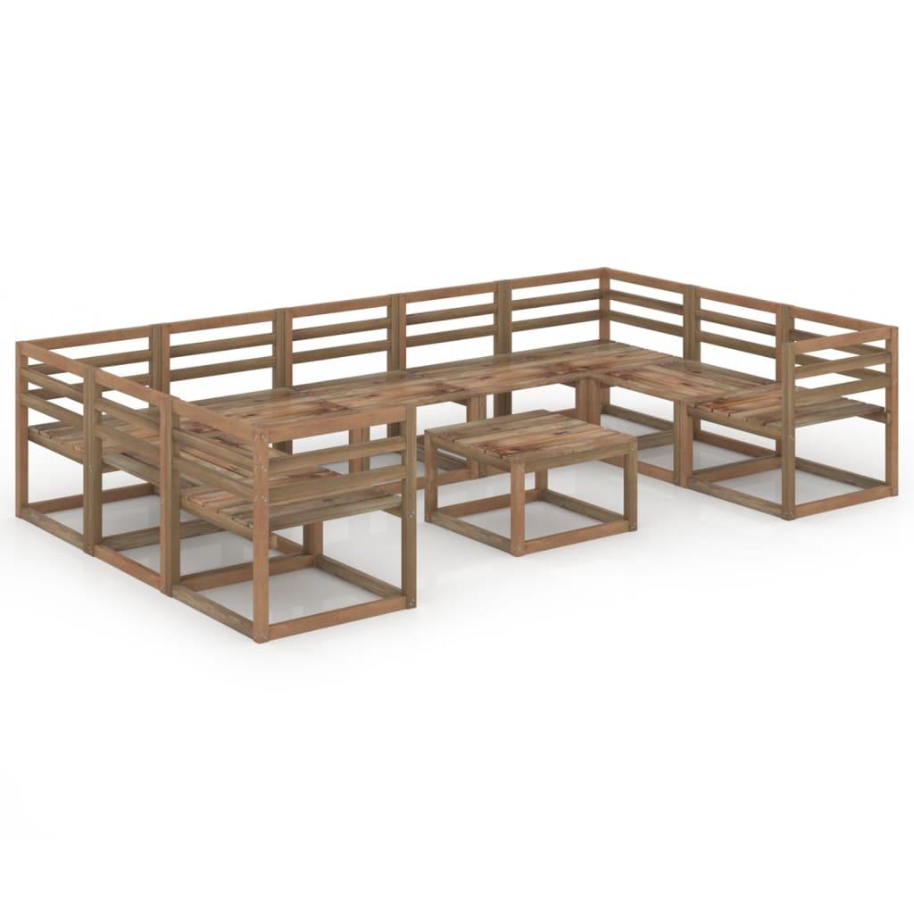 10-tlg. Garten-Lounge-Set Braun Imprägniertes Kiefernholz