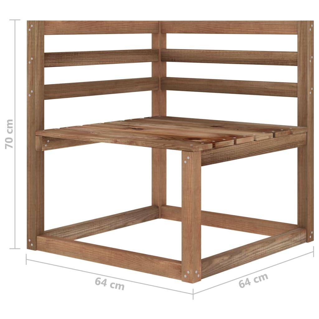 10-delige Loungeset bruin geïmpregneerd grenenhout