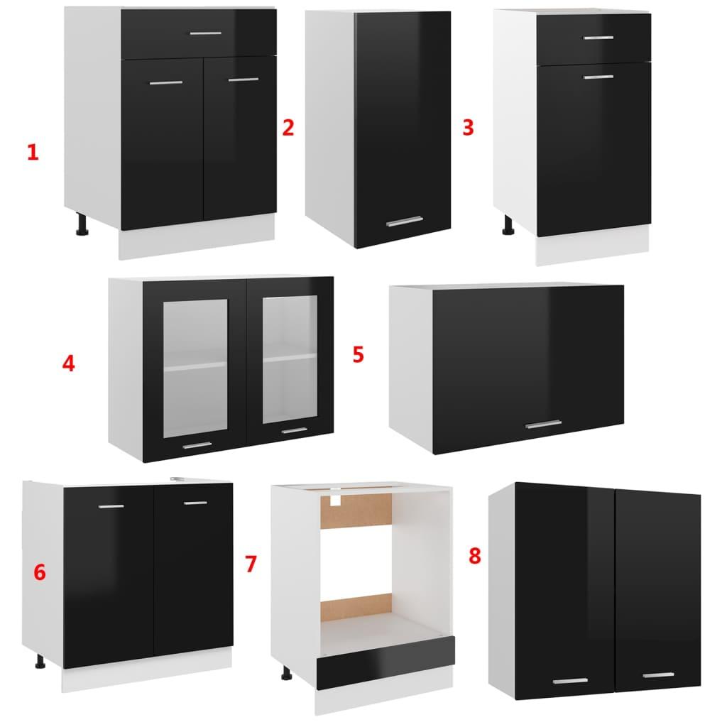 vidaXL 8-delige Keukenkastenset spaanplaat hoogglans zwart