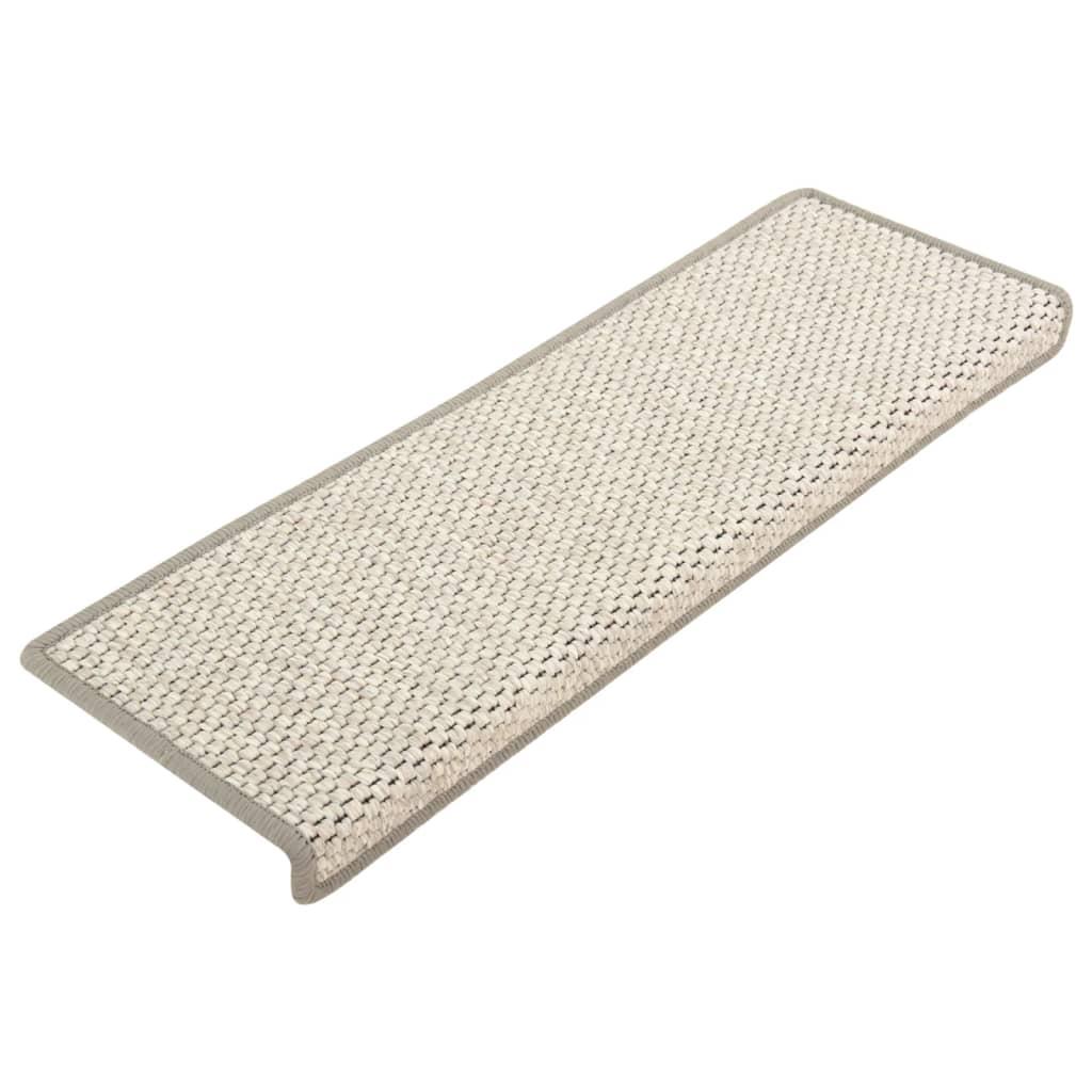 vidaXL Trapmatten zelfklevend 15 st sisal-look 65x25 cm beige