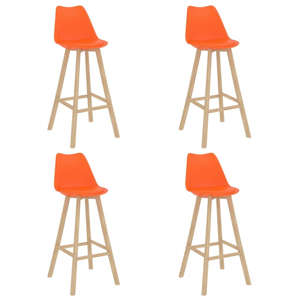 vidaXL barstole 4 stk. PP og massivt bøgetræ orange