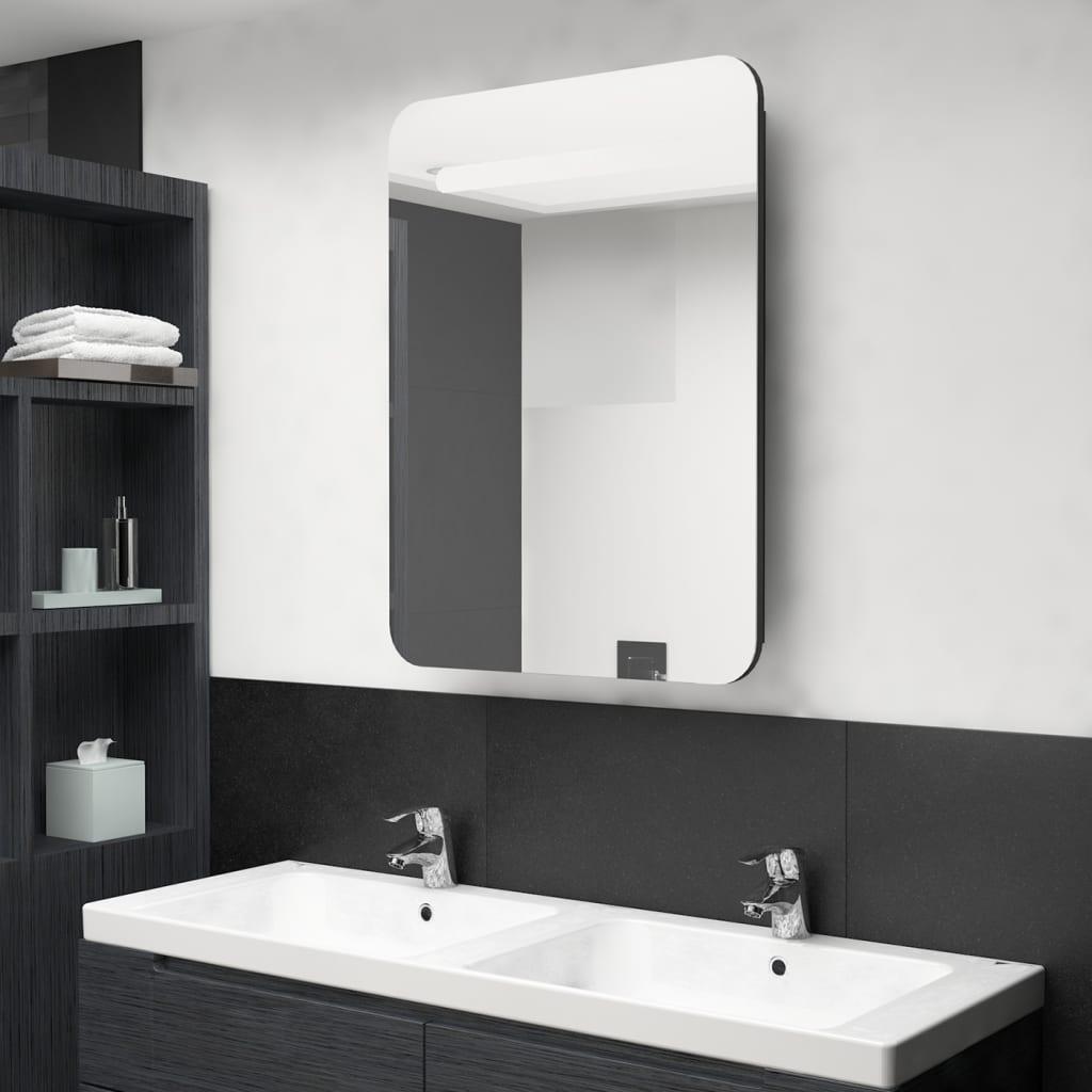 Badkamerkast met spiegel en LED 60x11x80 cm zwart