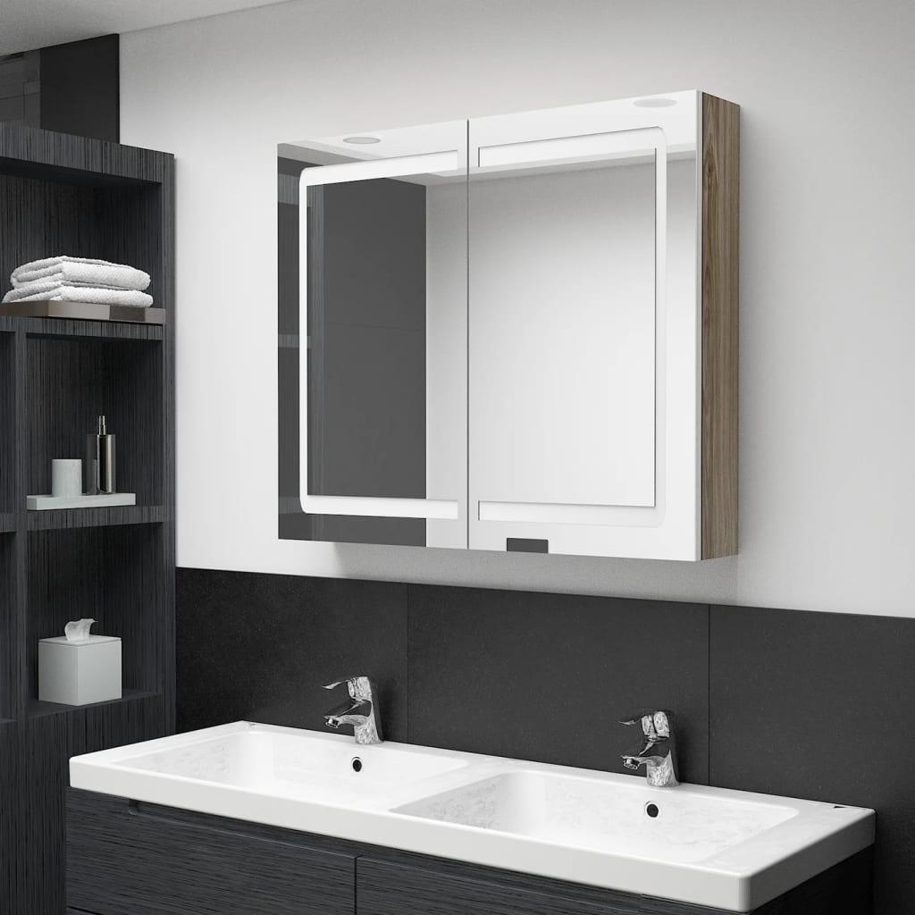 Badkamerkast met spiegel en LED 80x12x68 cm wit en eikenkleurig