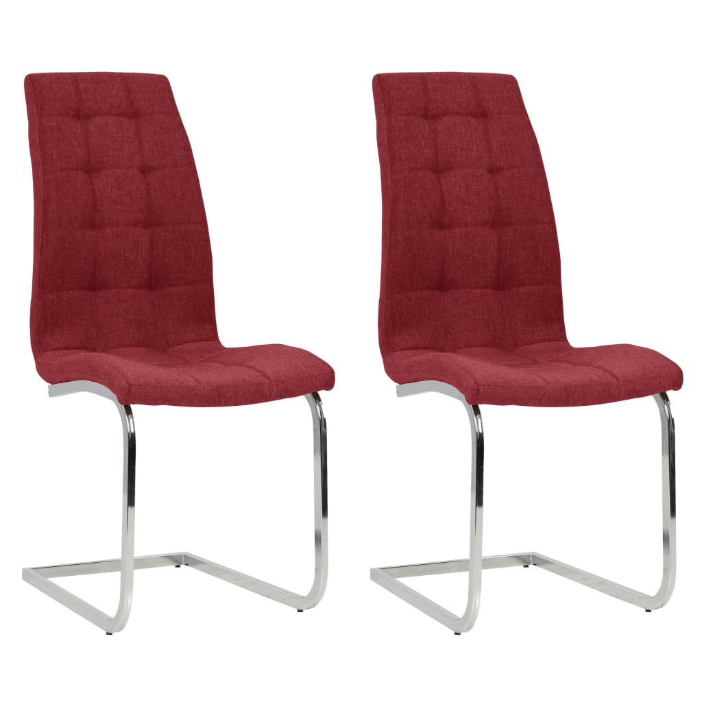 vidaXL Konzolne blagovaonske stolice od tkanine 2 kom crvena boja vina