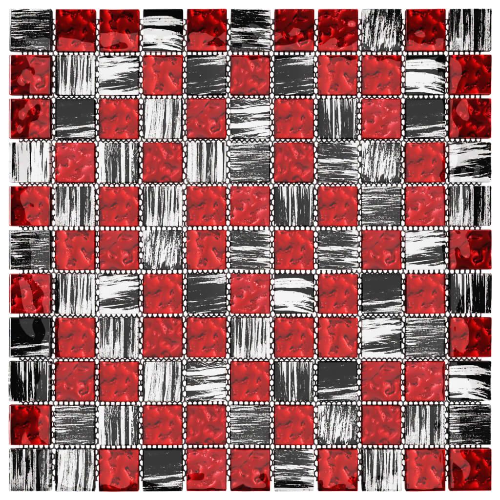 Samoljepljive pločice mozaik 11 kom crno-crvene 30x30 cm staklo