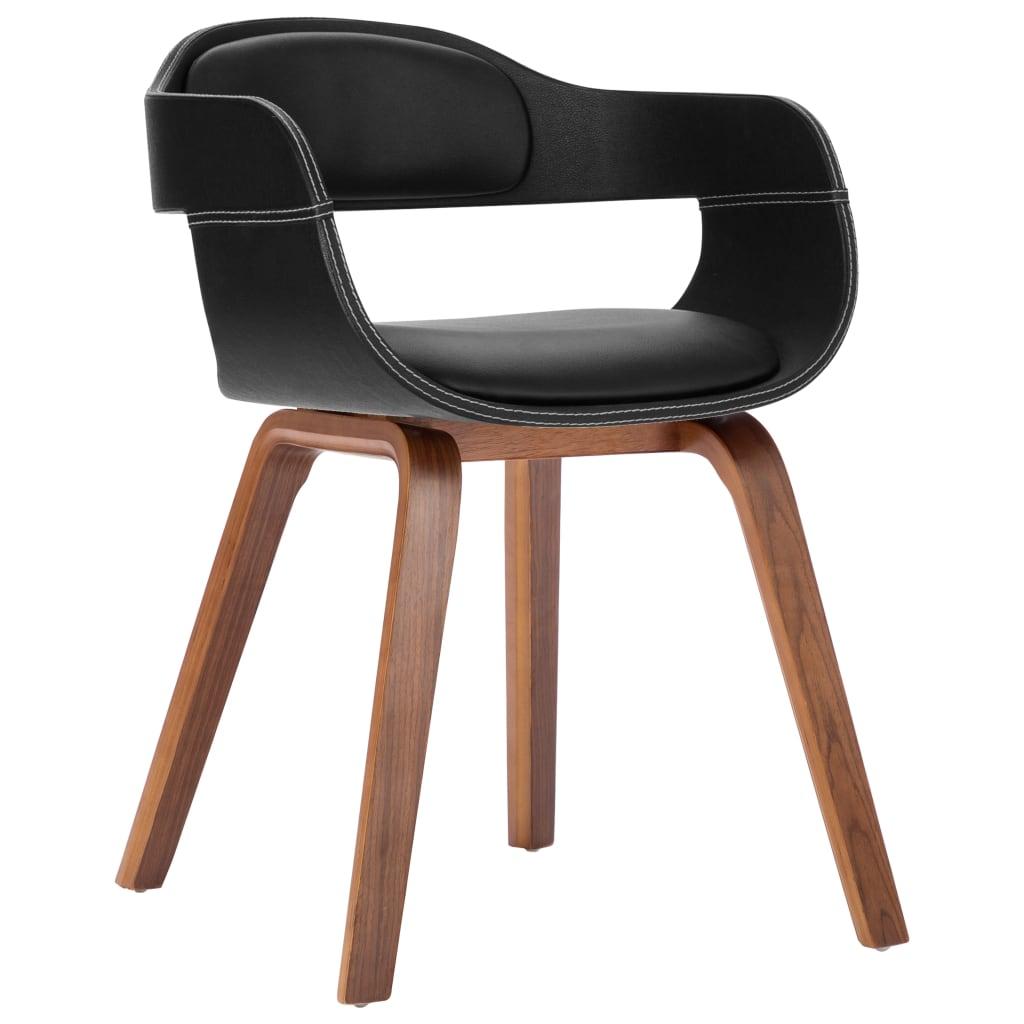 vidaXL Blagovaonska stolica crna od umjetne kože i savijenog drva