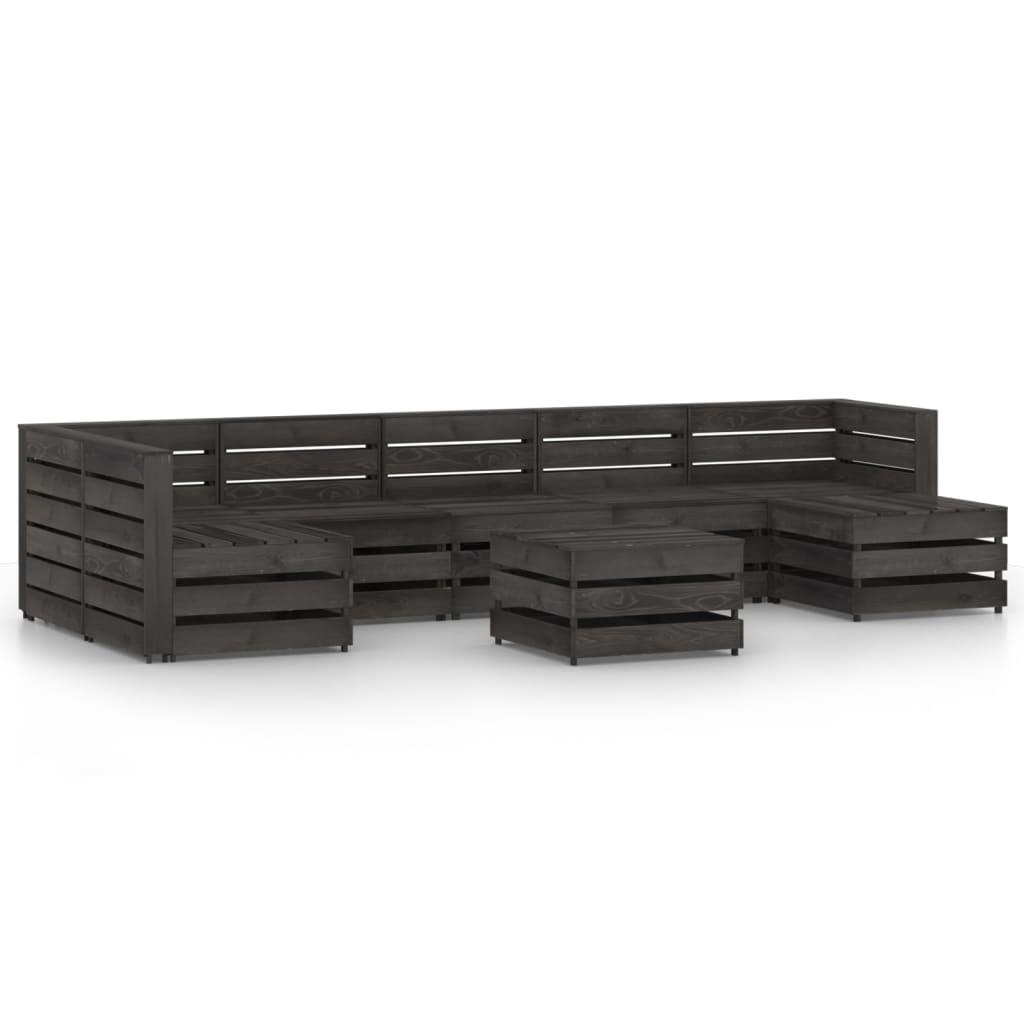 vidaXL 8-delige Loungeset grijs geïmpregneerd grenenhout