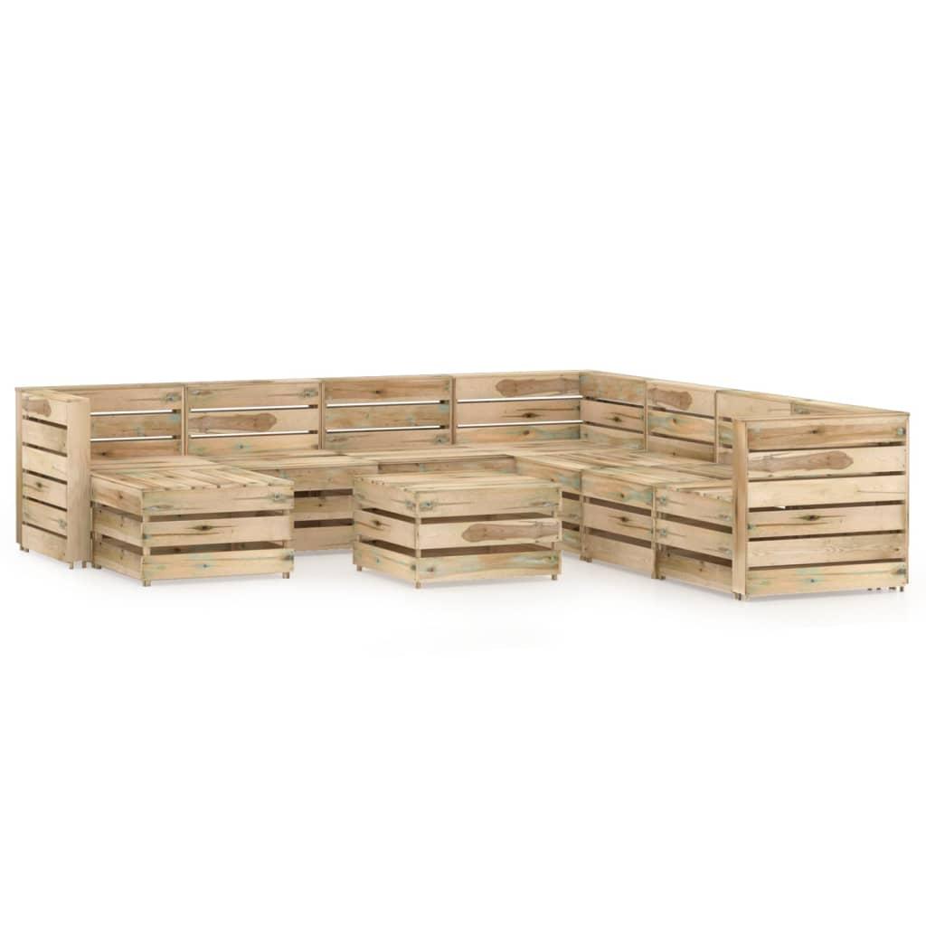 9-delige Loungeset groen geïmpregneerd grenenhout