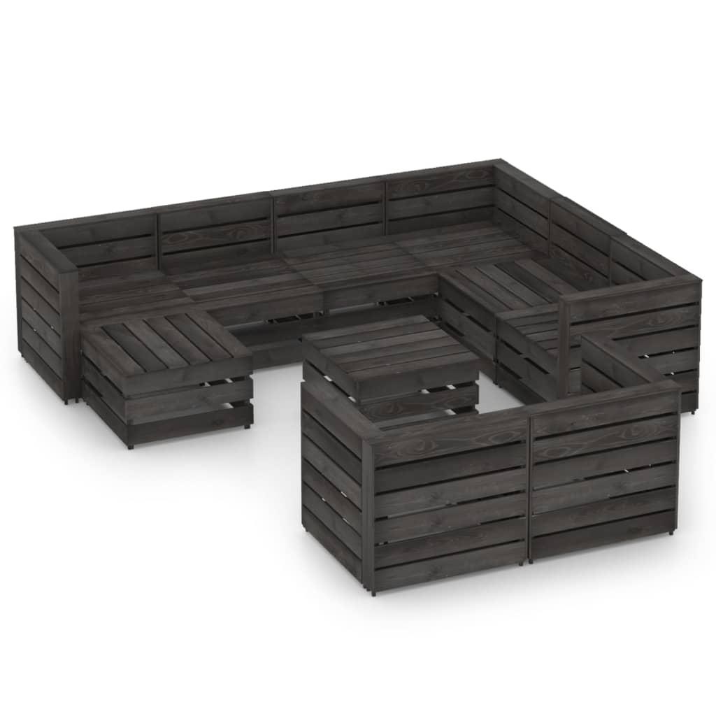 10-tlg. Garten-Lounge-Set Grau Imprägniertes Kiefernholz