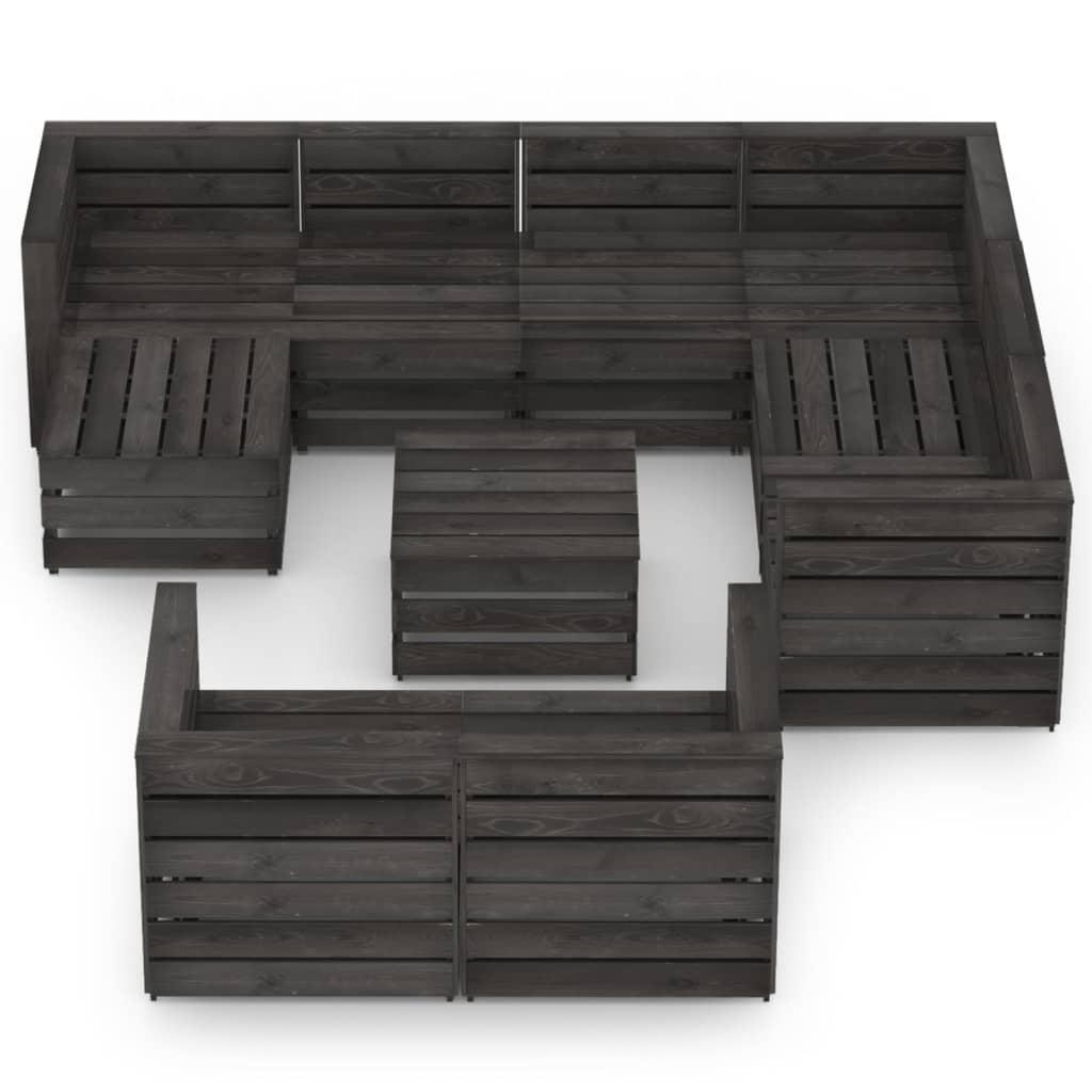 10-delige Loungeset grijs geïmpregneerd grenenhout