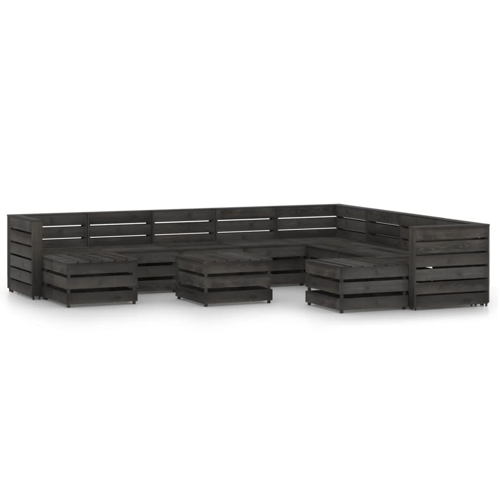 11-delige Loungeset grijs geïmpregneerd grenenhout